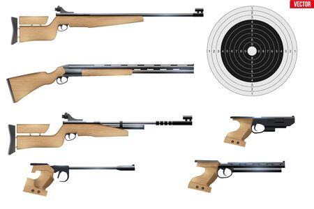 Zestaw sprzętu sportowego strzelectwa. Gry strzelnicy. Karabiny i pistolety z tarczą. Ilustracja wektorowa na białym tle.