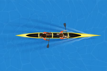 Sprint Double canoe and paddler on water surface. Top view of Equipment whitewater sprint canoeing in moving. Vector Illustration
