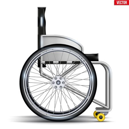 Sport Wheelchair Paralympic Equipment. Original Design Classic model for disability athletes. Side view. Vector Illustration isolated on white background Ilustração