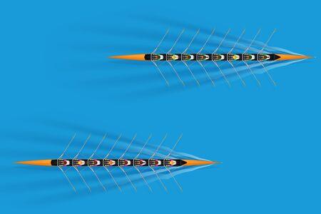 Course de huit rameurs avec pagayeurs mixtes à la surface de l'eau. Femmes et hommes à l'intérieur des bateaux en mouvement. Vue de dessus de l'équipement pour l'aviron de sports nautiques. Illustration vectorielle Vecteurs