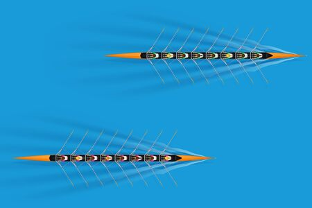 Race of Eight rowers with mixed paddlers on water surface. Women and men inside boats in moving. Top view of Equipment for waters sport rowing. Vector Illustration Ilustração
