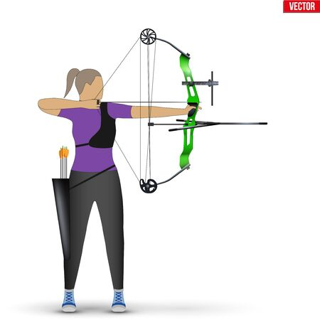 Archer with Compound Bow Archery Sport. Archery Sport Equipment. Athlete Archer Woman Aiming an arrow. Vector Illustration isolated on white background.