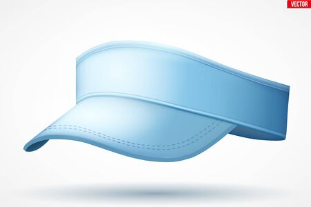 Layouts of tennis cap visor. A template example sport cap. Woman sport tennis apparel. Perpective view. Editable Vector Illustration isolated on white background. Vettoriali