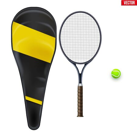 Set of tennis equipment. Ball and racket with case. Editable Vector Illustration isolated on white background.