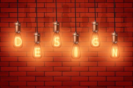 Decorative Retro design edison light bulbs with text Design on brick wall background. Vintage style with copper for loft and cafe. Switch On with letters. Vector Illustration
