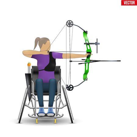 Atleta arquero discapacitado apuntando con arco deportivo. Equipo deportivo de tiro con arco para deportistas. Discapacidad Archer mujer con el objetivo de una flecha. Ilustración de vector aislado sobre fondo blanco. Ilustración de vector
