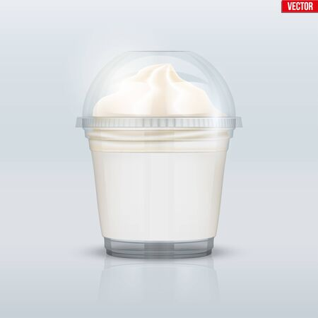 Clear plastic cup with ice cream and sphere dome cap. Plastic ice cream container with label. Vector Illustration on presentation background. Vektoros illusztráció