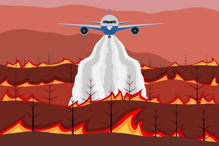 Firefighter fly extinguishes fire in forest. Wildfire and discharge of water from an airplane. Trees burned during the dry season. Flame and smoke in mountain. Vector Illustration.