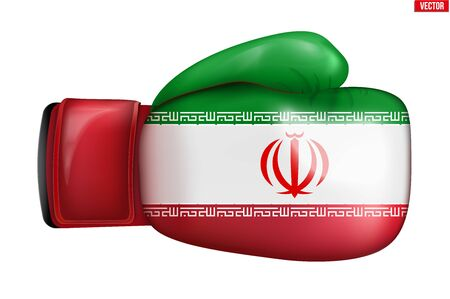 Boxing gloves with Iran Flag. Political Conflict and sport competition concept symbol. Concept of agression and confrontation. Vector Illustration isolated on white background  イラスト・ベクター素材