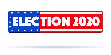 Symbol of USA Election 2020. Banner in form of star-striped American flag. Editable Vector illustration Isolated on white background.