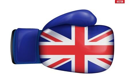 Boxing gloves with Great Britain Flag. Political Conflict concept symbol. Concept of Britain crisis and brexit. Vector Illustration isolated on white background