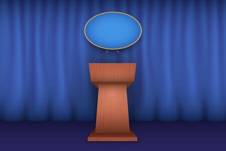 Wooden Podium Speaker Tribune White House Interior. Official Speech Place. Politician speaking place. Vector Illustration Isolated on white Background.