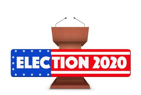 Wooden Podium Speaker Tribune with US Election 2020 symbol. Banner in form of flag of United States. Vector Illustration Isolated on white Background.