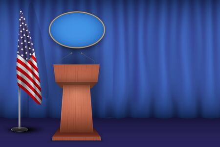Wooden Podium Speaker Tribune USA White House Interior. Official Speech Place. Politician speaking place with flag of United States of America. Vector Illustration Isolated on white Background. Ilustrace