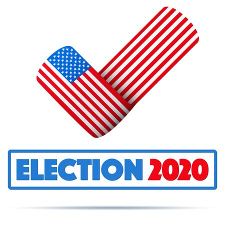 Symbol of USA Election 2020. Check mark symbol in the form of American flag. Editable Vector illustration Isolated on white background. Ilustrace