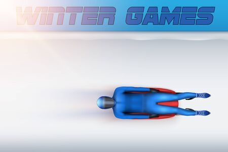 View of Skeleton Track with luge and athlete in motion. Vector Illustration Background