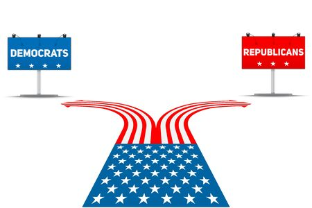Standing at the crossroad making USA political party choice. Flag in the shape of the road to the Republicans or Democrats.