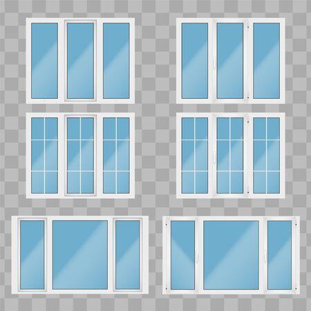 Ensemble de fenêtres PVC en plastique métal. Vue intérieure et extérieure. Présentation des modèles et installation du châssis. Couleur blanche. Exemple d'illustration vectorielle isolée sur fond transparent. Vecteurs