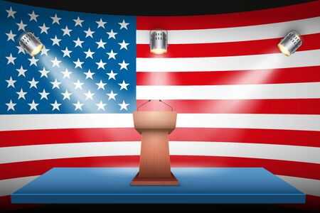 Podium Speaker Tribune with US Election 2020 symbol. Politician speaking place on USA flag background and spotlights. Vector Illustration