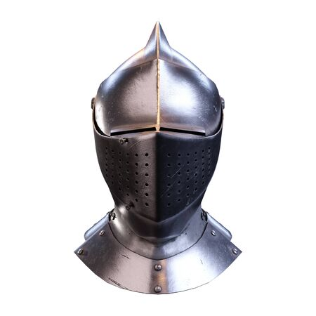 Classic Medieval Knight Armet Helmet with visor. Front view. Used for tournaments or battlefields. 3D render Illustration Isolated on white background.