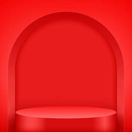 Light box with Red presentation circle podium with arch. Editable Background Vector illustration. 矢量图像