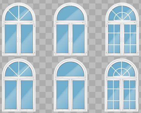 Set of Metal plastic PVC windows with arch style. Indoor amd outside view. Presentation of models and frame installation. Sample Vector Illustration isolated on transparent background.