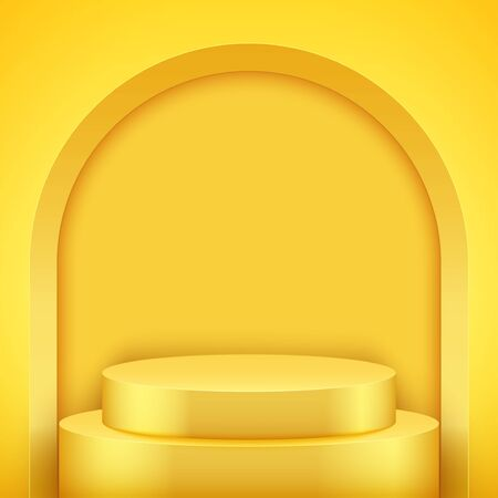 Light box with Yellow presentation circle podium with arch ant two level. Pastel color. Editable Background Vector illustration.