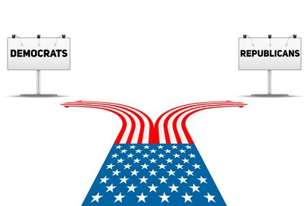Standing at the crossroad making USA political party choice. Flag in the shape of the road to the Republicans or Democrats. Vector Illustration Isolated on white Background.