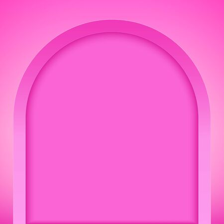 Pink arch niche. Recess in a colored wall in arch shaped . Editable Background Vector illustration.