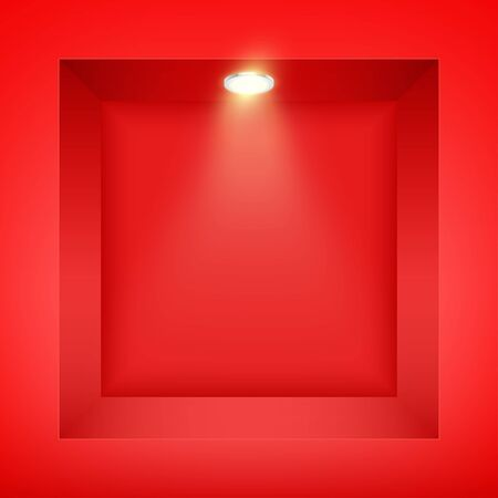 Red wall niche with spotlight. Recess in a colored wall in square shaped with point light. Editable Background Vector illustration.