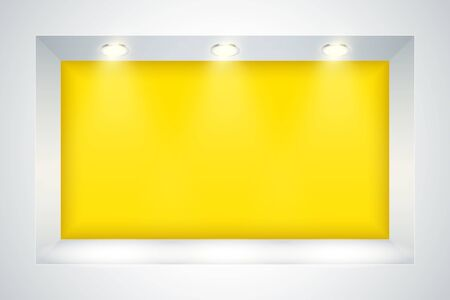 White and Yellow wall niche with spotlight. Recess in a colored wall in square shaped with point light. Editable Background Vector illustration.