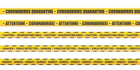 Coronavirus Caution and warning tape. Set of Seamless tapes hazard quarantine. Epidemic barrage lines. Vector Illustration isolated on white background. Illustration