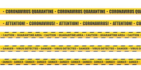 Ruban d'avertissement et de mise en garde contre le coronavirus. Ensemble de bandes sans couture danger quarantaine. Lignes de barrage épidémique. Illustration vectorielle isolée sur fond blanc. Vecteurs