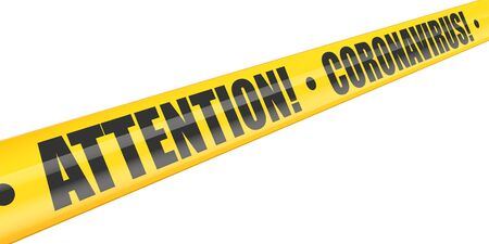 Coronavirus Attention warning tape. Perspective view. Epidemic barrage lines. Vector Illustration isolated on white background.