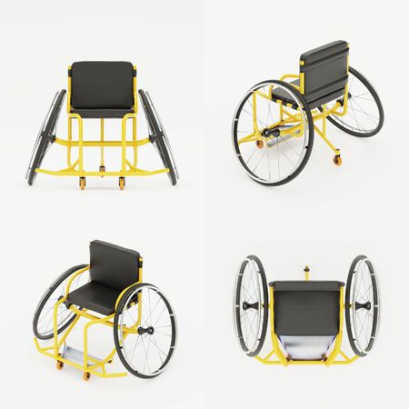 Sport Wheelchair Equipment. Original Design Classic model for disability athletes. All sides view. 3D render Illustration isolated on a white background.