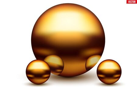 Golden Balls with reflection. Metallic Spheres reflected in each other in gold color. Vector Illustration isolated on white background.