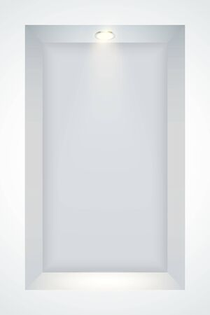 Vertical White wall niche with spotlight. Recess in a colored wall in square shaped with point light. Editable Background Vector illustration.