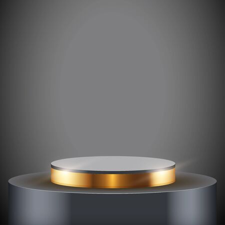 Black presentation circle podium with gold line level. Editable Background Vector illustration.