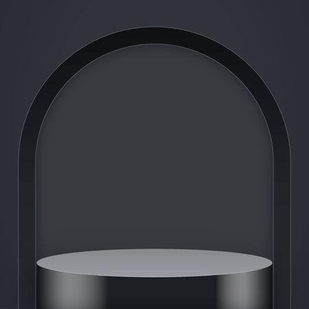 Light box with Black presentation circle podium with arch and one level. Editable Background Vector illustration.