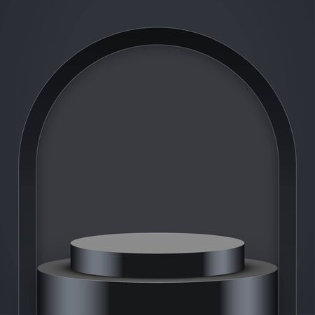 Light box with Black presentation circle podium with arch and two level. Editable Background Vector illustration. Ilustracja
