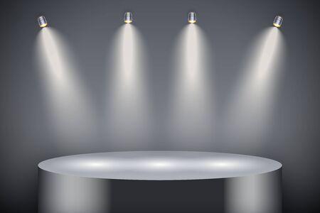 Black presentation circle podium on dark backdrop with four spotlights. Editable Background Vector illustration.