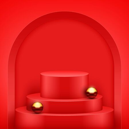 Red presentation circle podium with gold balls and three level. Pastel color. Editable Background Vector illustration.