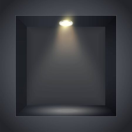 Vertical Black wall niche with spotlight. Recess in a dark wall in square shaped with point light. Editable Background Vector illustration. Ilustração