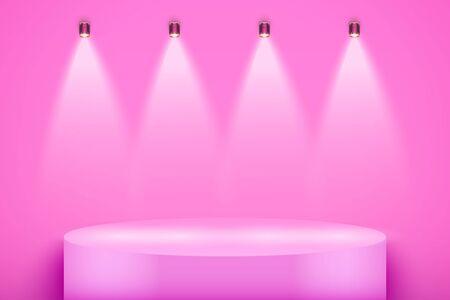 Pink presentation circle podium on glamour backdrop with four spotlights. Editable Background Vector illustration.