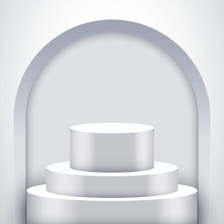 Light box with White presentation circle podium with arch and two level. Editable Background Vector illustration.