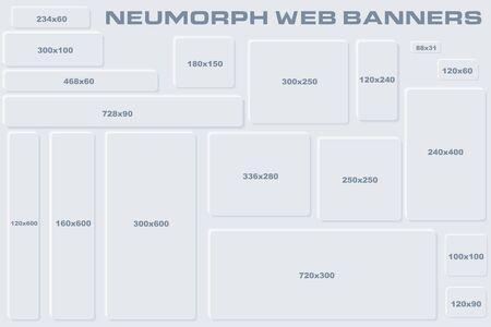 Standard Size Neumorphic UI Web Banners Templates. Skeuomorph Trend Design. Editable Vector Elements.