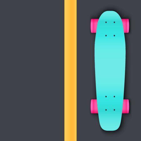 Modern longboard on aphalt. Top view. Urban recreation equipment. Street concept background. Vector Illustration