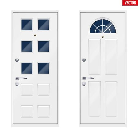 Set of Classic white entrance doors with viewing window. Outdoor view. Presentation of metal models and frame installation. Vector Illustration isolated on white background.