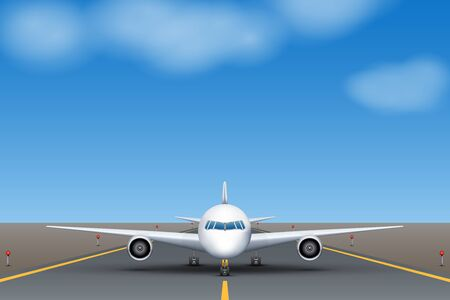 The plane takes off on the runway at the airport during the day. Airplane standing on runway front view. Vector Illustration. Illusztráció