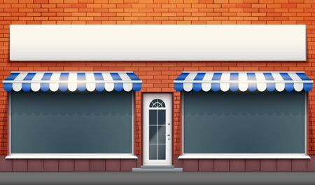 Exterior of shop facade with two big glass showcase and signboard. Facade of red brick wall and big windows and door with marquise blind. Hotel Street view. Vector Illustration. Illusztráció
